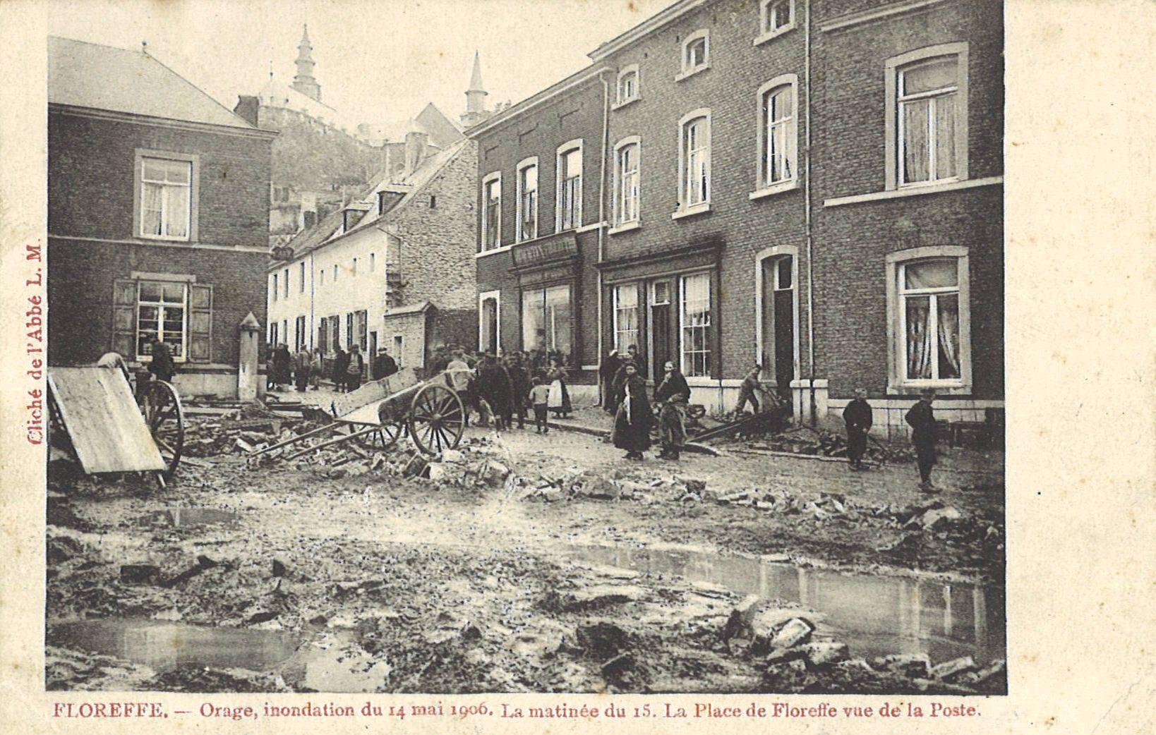 Floreffe – place Roi Baudouin – inondation du 14 mai 1906