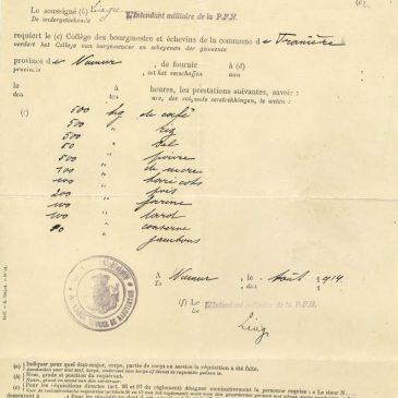 Franière – Guerre 14-18 – Ordre de réquisition