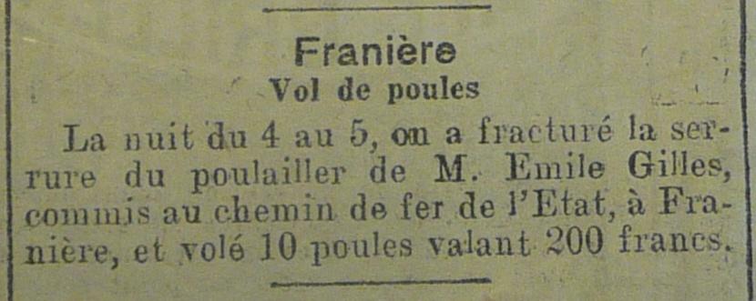 Franière – faits divers de l'année 1921