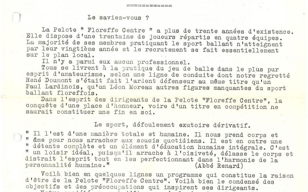 Floreffe – balle pelote – calendrier des luttes – 1966