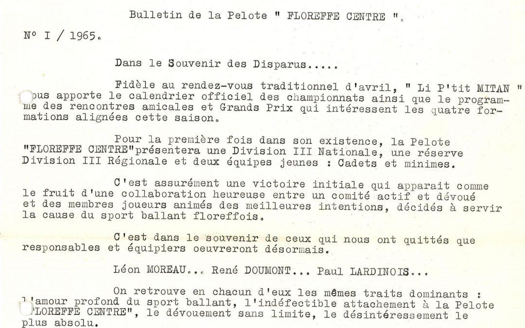 Floreffe – balle pelote – calendrier des luttes – 1965