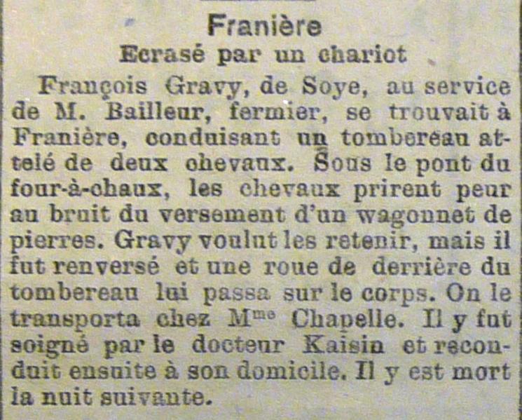 Soye – faits divers de l'année 1920