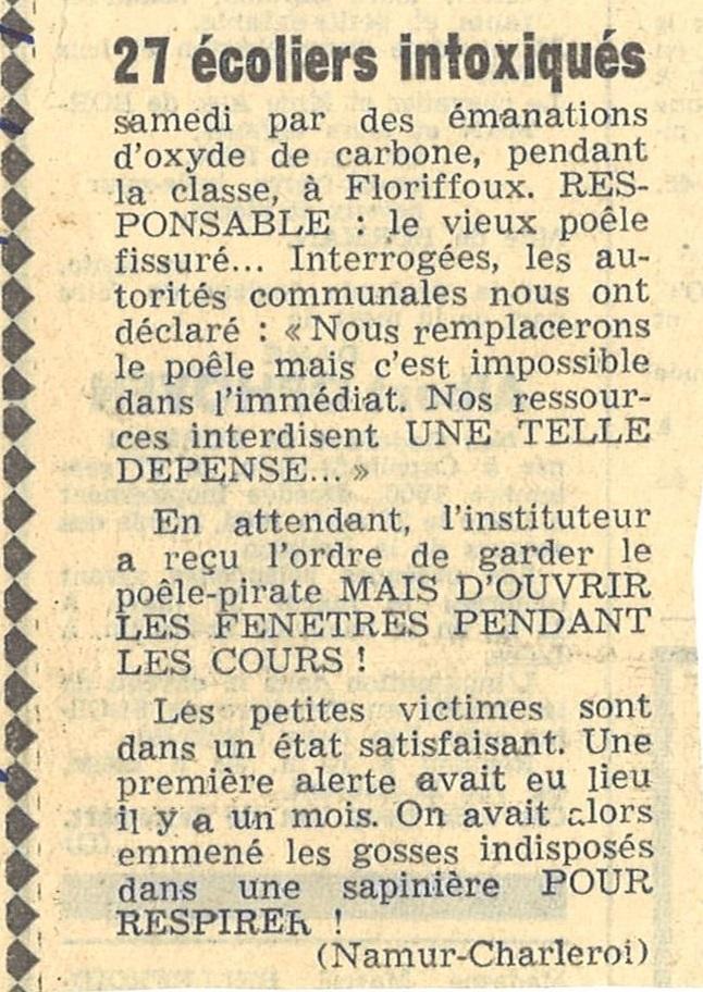 Floriffoux – école primaire communale – enfants intoxiqués – 1964