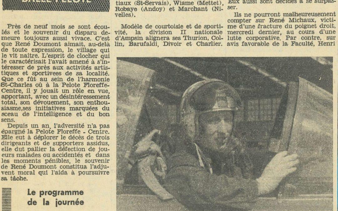 Floreffe – balle pelote – annonce et compte-rendu du 1er GP René Doumont – 1965