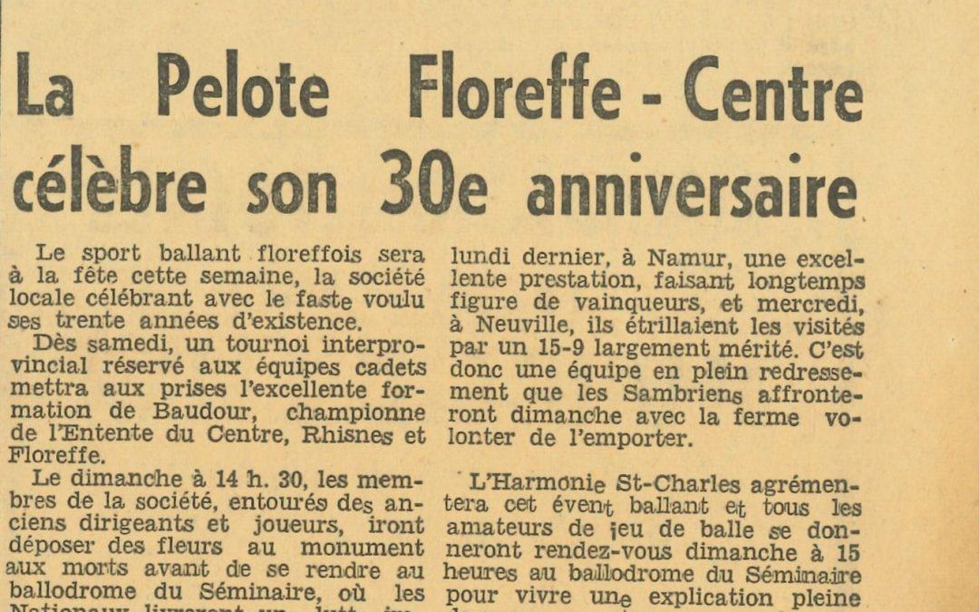 Floreffe – balle pelote – XXXème anniversaire – 1962