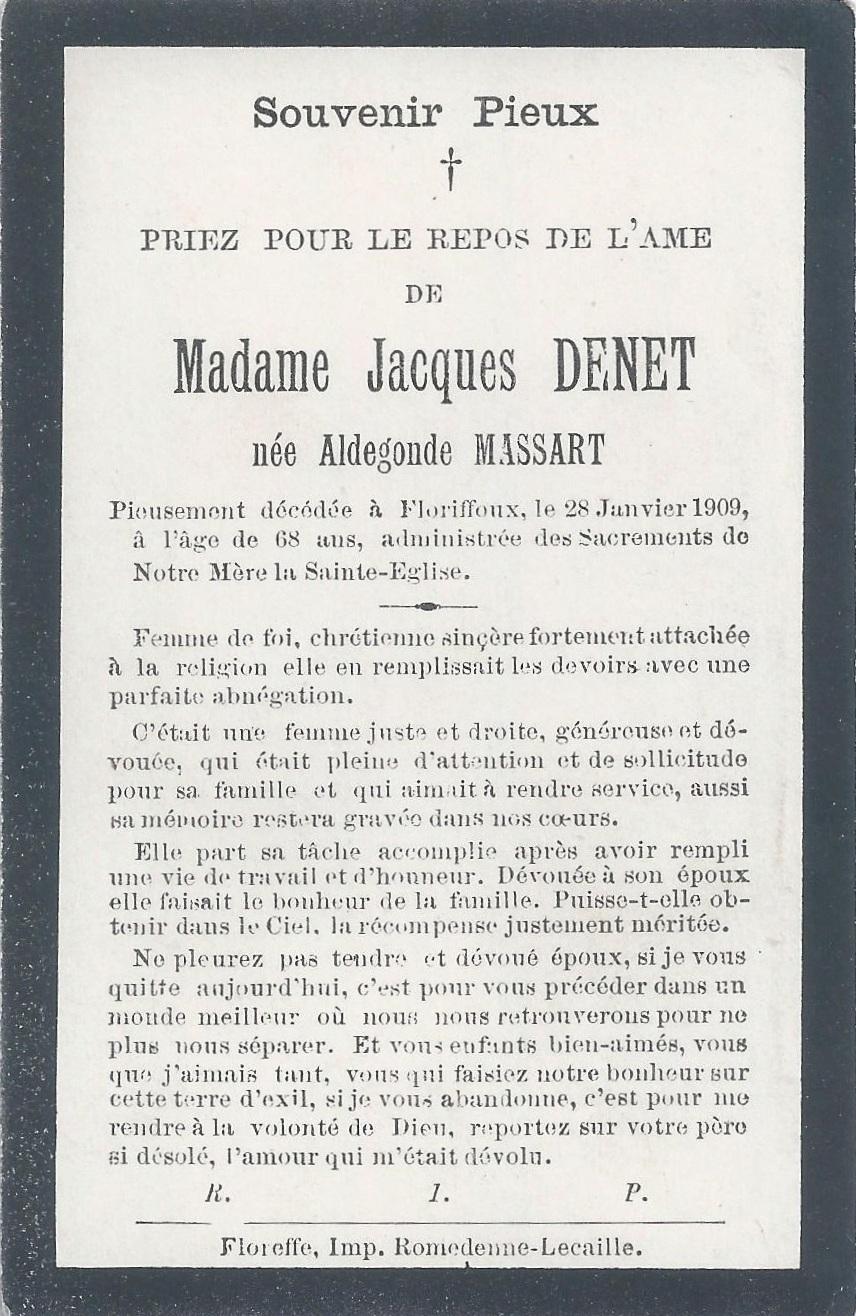 Floriffoux – souvenirs mortuaires – les patronymes MASSART