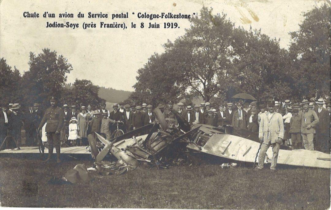 Soye – Jodion – chute d'un avion du service postal « Cologne–Folkestone »