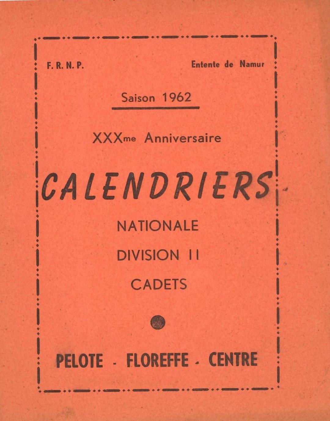 Floreffe – balle pelote – calendrier des luttes – 1962