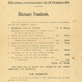 Franière – élections communales de 1911 – tracts
