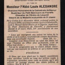 Floreffe – souvenirs mortuaires – les patronymes ALEXANDRE
