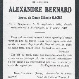 Floriffoux – souvenirs mortuaires – les patronymes BERNARD