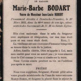 Franière – souvenirs mortuaires – les patronymes BODART