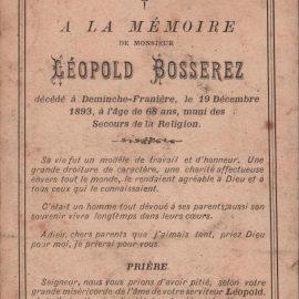 Franière – souvenirs mortuaires – les patronymes BOSSEREZ
