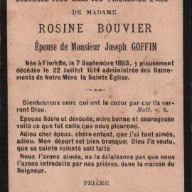 Floreffe – souvenirs mortuaires – les patronymes BOUVIER