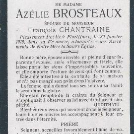 Floriffoux – souvenirs mortuaires – les patronymes BROSTEAUX