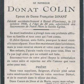 Floriffoux – souvenirs mortuaires – les patronymes COLIN