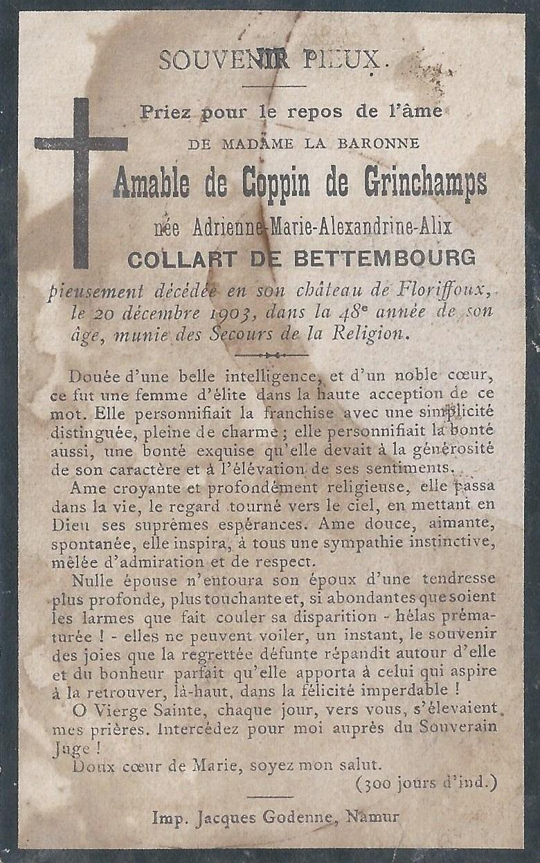 Floriffoux – souvenirs mortuaires – les patronymes COLLART de BETTEMBOURG