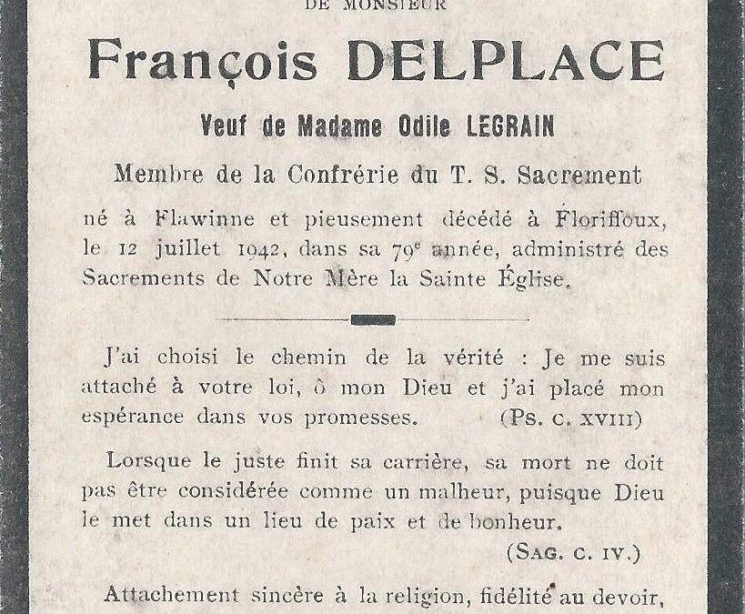 Floriffoux – souvenirs mortuaires – les patronymes DELPLACE