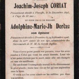 Franière – souvenirs mortuaires – les patronymes CORIAT