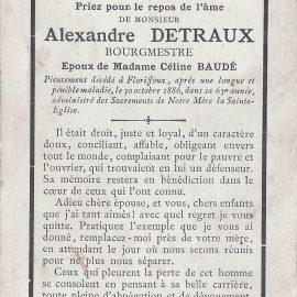 Floriffoux – souvenirs mortuaires – les patronymes DETRAUX