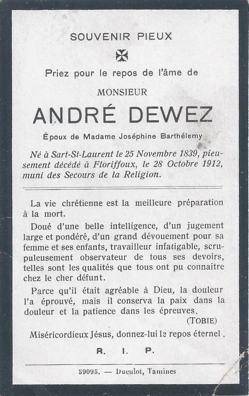 Floriffoux – souvenirs mortuaires – les patronymes DEWEZ