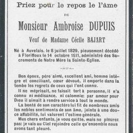 Floriffoux – souvenirs mortuaires – les patronymes DUPUIS