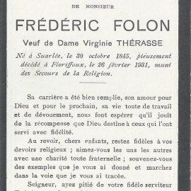 Floriffoux – souvenirs mortuaires – les patronymes FOLON