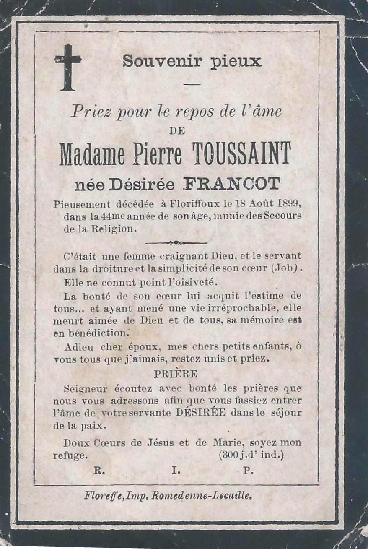 Floriffoux – souvenirs mortuaires – les patronymes FRANCOT