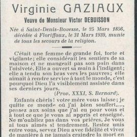 Floriffoux – souvenirs mortuaires – les patronymes GAZIAUX