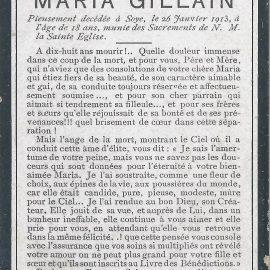 Soye – souvenirs mortuaires – les patronymes GILLAIN