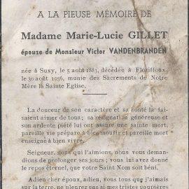 Floriffoux – souvenirs mortuaires – les patronymes GILLET