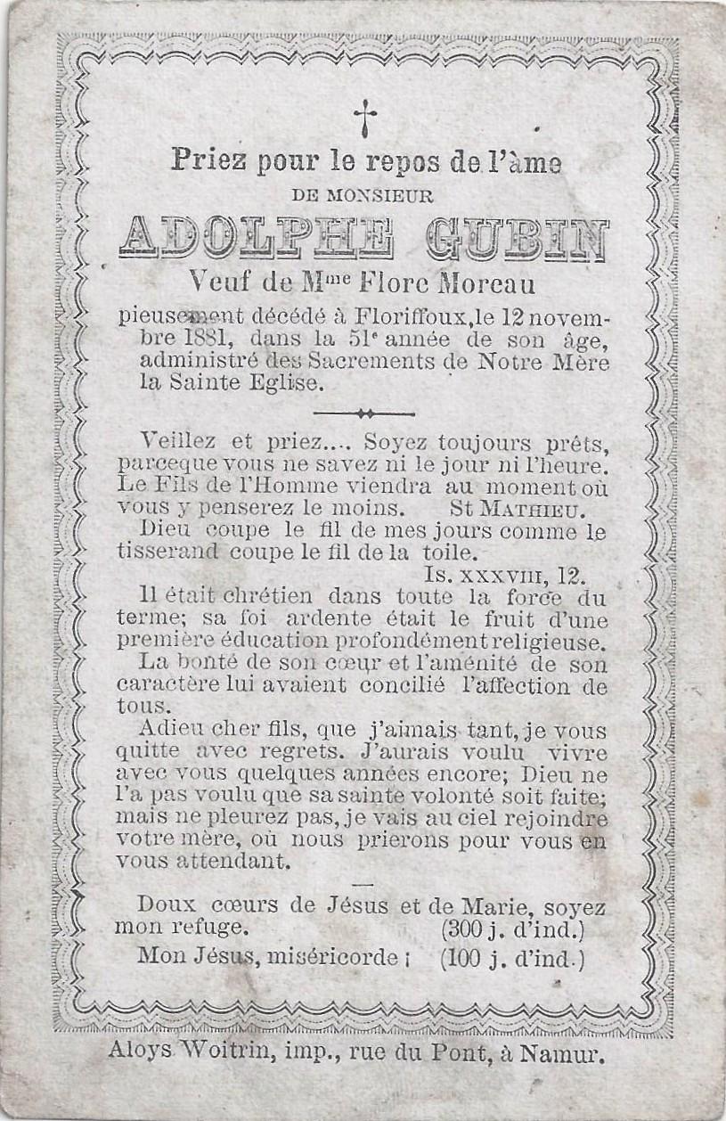 Floriffoux – souvenirs mortuaires – les patronymes GUBIN