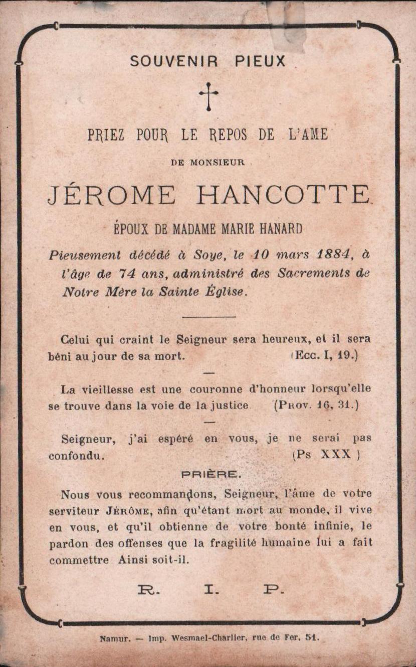 Soye – souvenirs mortuaires – les patronymes HANCOTTE
