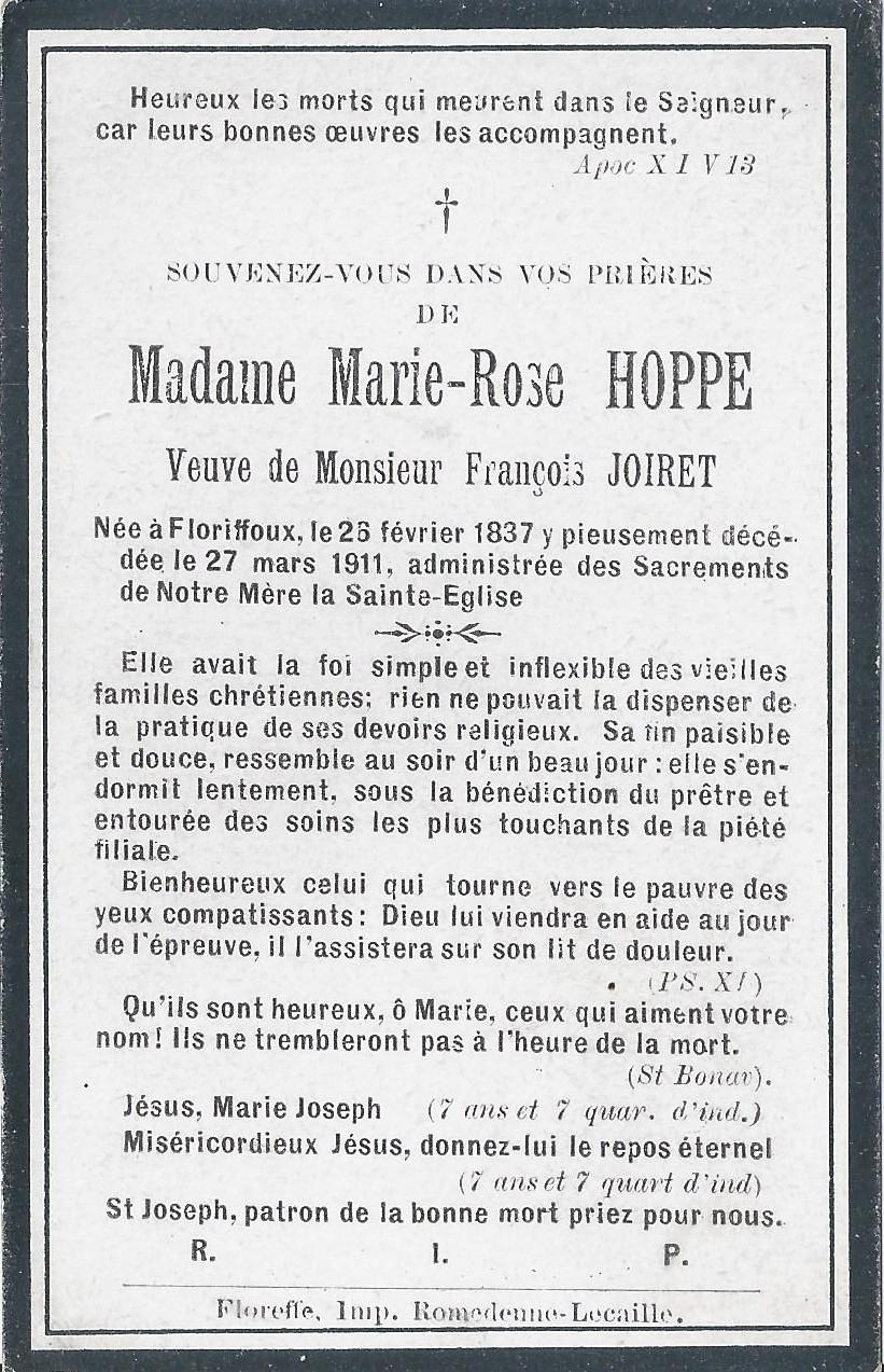 Floriffoux – souvenirs mortuaires – les patronymes HOPPE