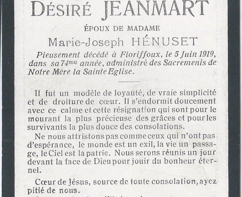 Floriffoux – souvenirs mortuaires – les patronymes JEANMART
