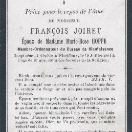 Floriffoux – souvenirs mortuaires – les patronymes JOIRET