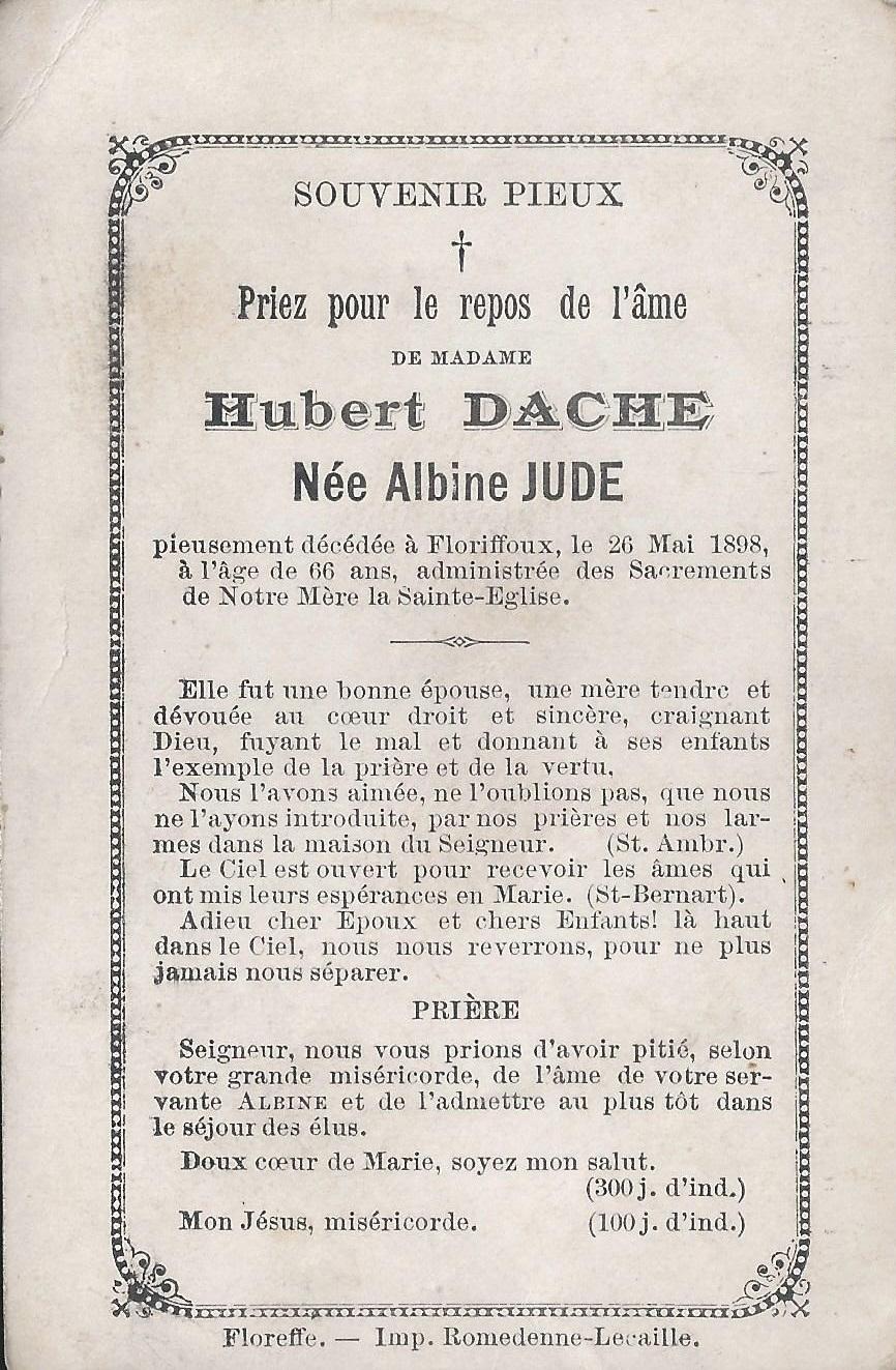Floriffoux – souvenirs mortuaires – les patronymes JUDE