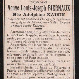 Floreffe – souvenirs mortuaires – les patronymes KAISIN
