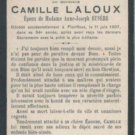 Floriffoux – souvenirs mortuaires – les patronymes LALOUX