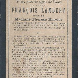 Floriffoux – souvenirs mortuaires – les patronymes LAMBERT