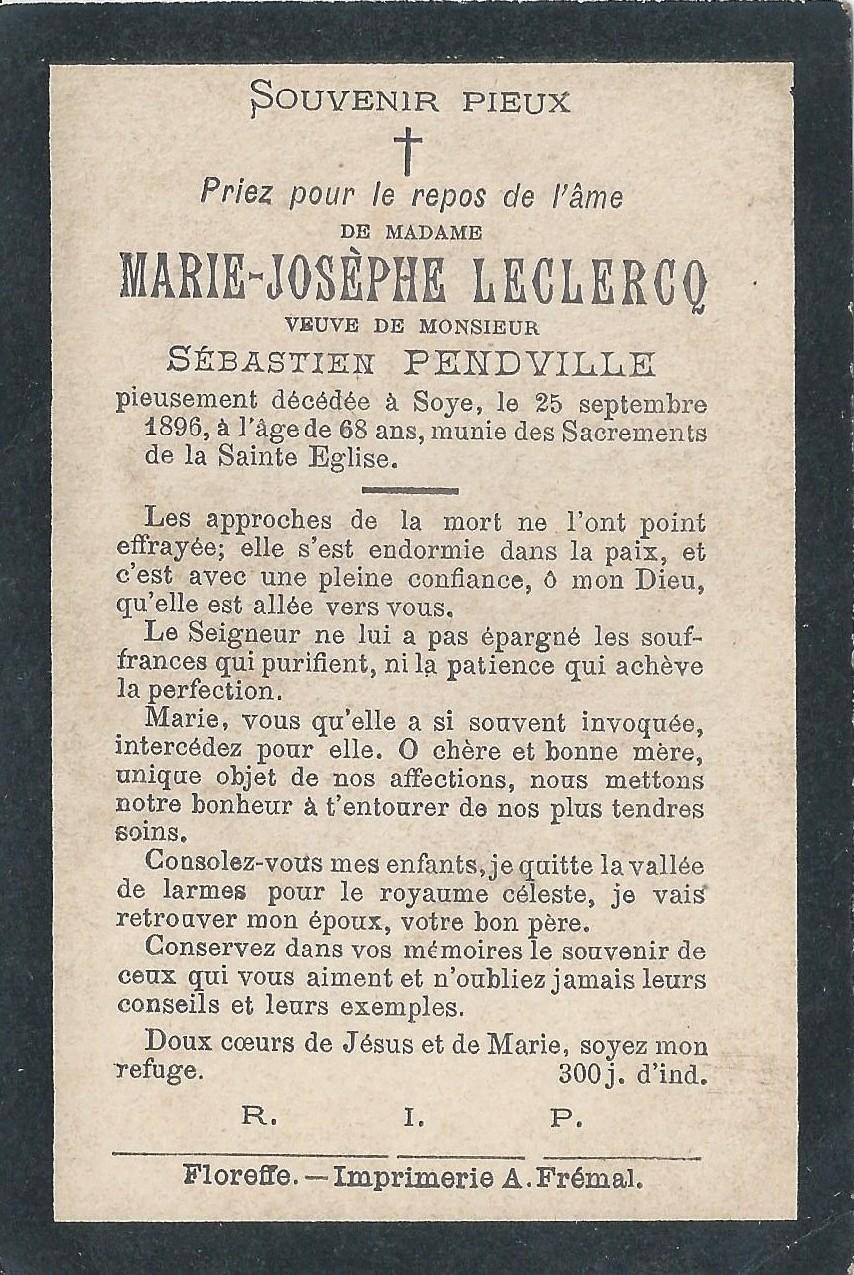 Soye – souvenirs mortuaires – les patronymes LECLERCQ