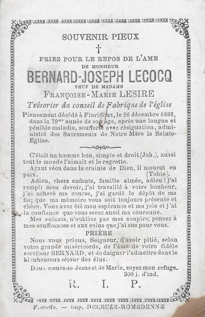 Floriffoux – souvenirs mortuaires – les patronymes LECOCQ
