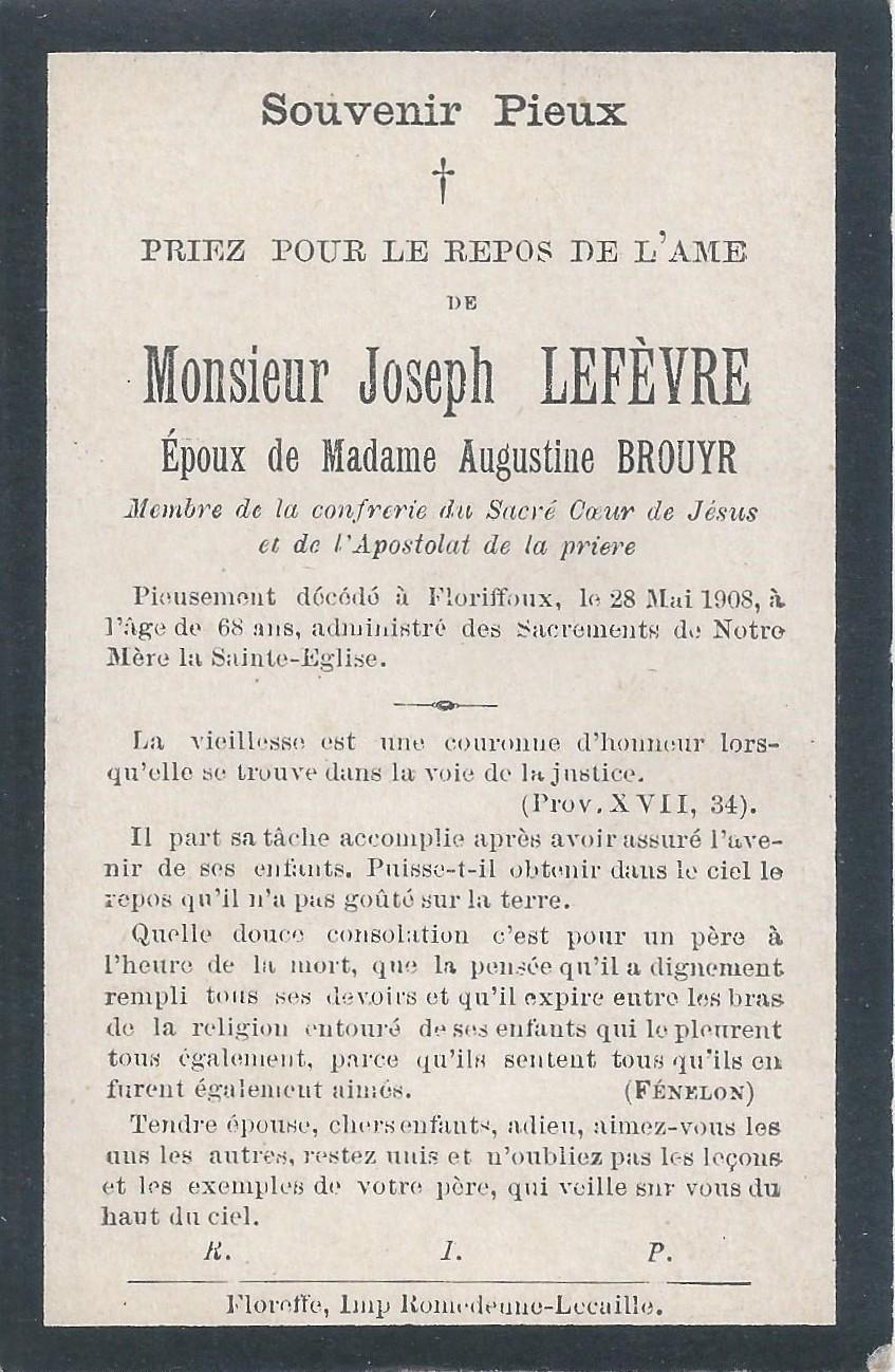 Floriffoux – souvenirs mortuaires – les patronymes LEFEVRE