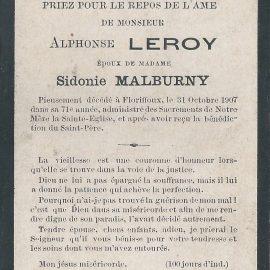 Floriffoux – souvenirs mortuaires – les patronymes LEROY