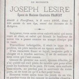 Floriffoux – souvenirs mortuaires – les patronymes LESIRE