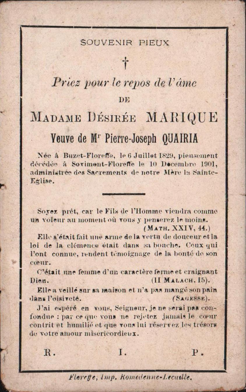 Floreffe – souvenirs mortuaires – les patronymes MARIQUE
