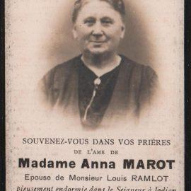 Soye – souvenirs mortuaires – les patronymes MAROT