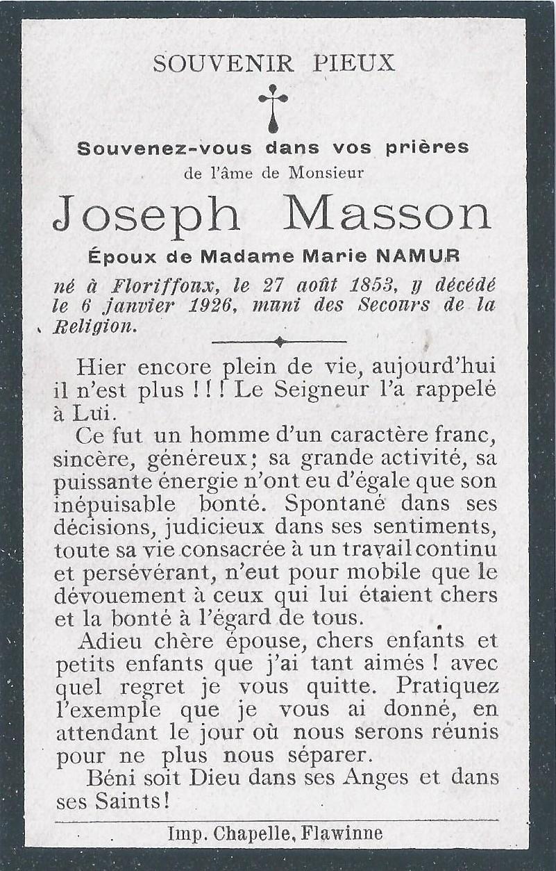 Floriffoux – souvenirs mortuaires – les patronymes MASSON