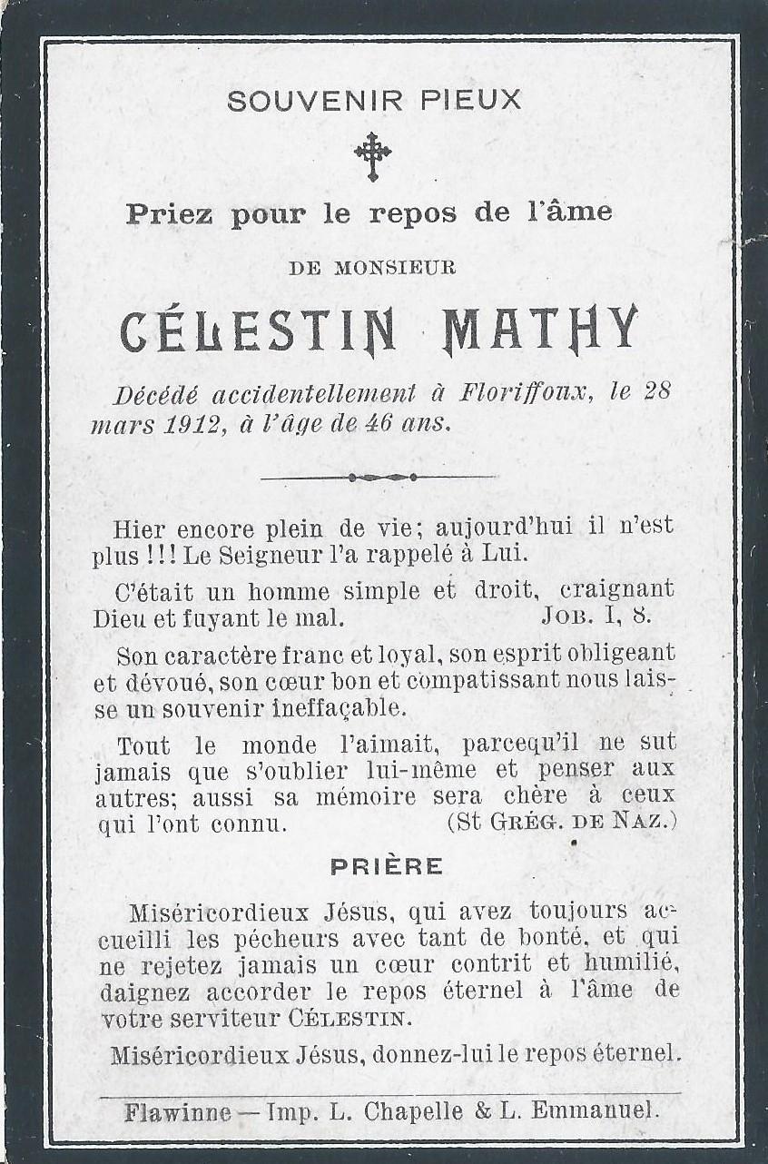 Floriffoux – souvenirs mortuaires – les patronymes MATHY