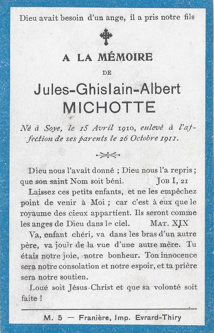 Soye – souvenirs mortuaires – les patronymes MICHOTTE